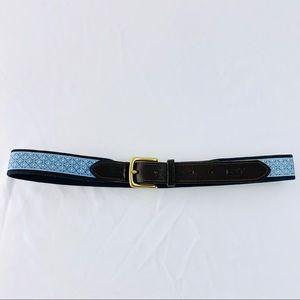 VINEYARD VINES Classic Men's Leather & Canvas Belt
